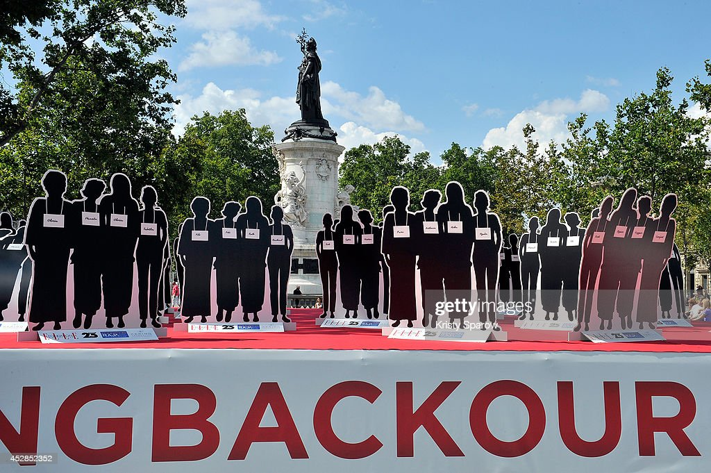 A general view of atmosphere during the 'Bring Back Our Girls' Ephemeral Exhibition, bringing awareness to the 220 young women kidnapped in Nigeria now more than 100 days ago, on July 28, 2014 in Paris, France. The ELLE Foundation is working to support women's rights and 'Bring Back Our Girls' - Ephemeral Exhibition by displaying 220 silhouettes at Place de la Republique.