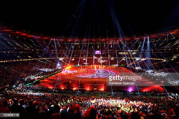 General view of atmosphere during the Closing Ceremony ahead of the 2010 FIFA World Cup South Africa Final match between Netherlands and Spain at...