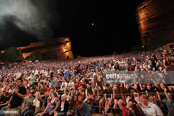 A general view of atmosphere during the Imagine Dragons performance at Red Rocks Amphitheatre on May 16 2013 in Morrison Colorado