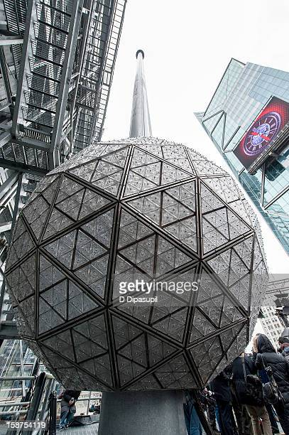 General view of atmosphere during the installation of 288 New Waterford Crystals on the 2013 Times Square New Year's Eve Ball at One Times Square on...