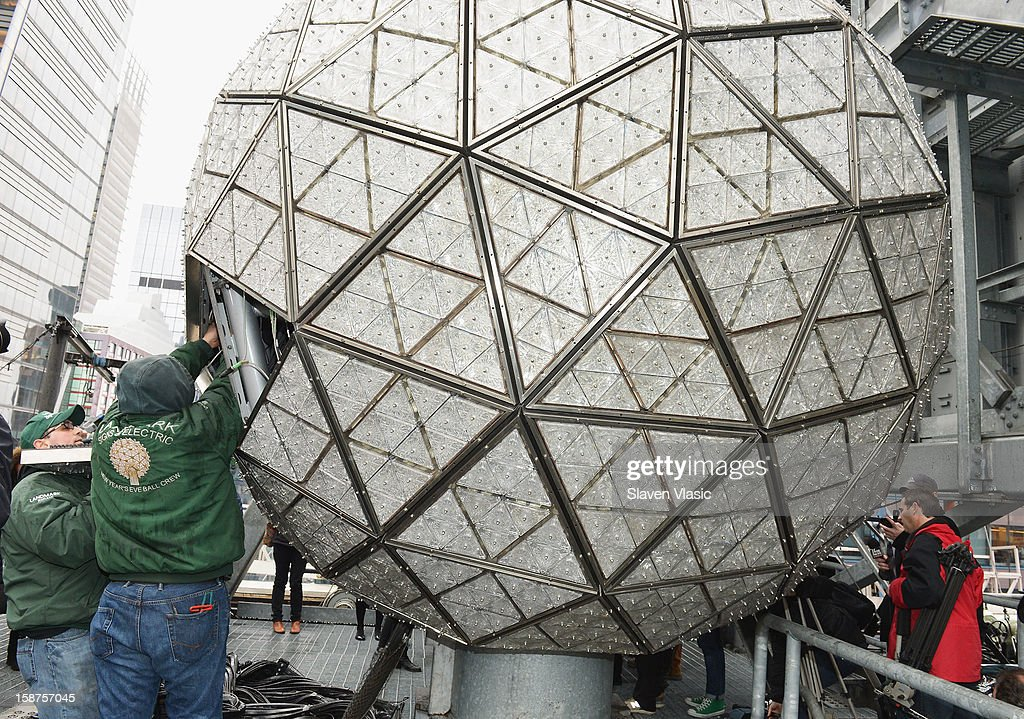A general view of atmosphere during the installation of 288 New Waterford Crystals on the 2013 Times Square New Year's Eve Ball at One Times Square on December 27, 2012 in New York City.