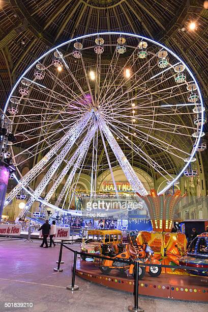 A general view of atmosphere during the 'Jours de Fete au Grand Palais' Fete foraine Opening at Grand Palais on December 2015 in Paris France