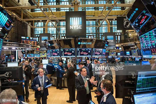 General view of atmosphere during the NYSE opening bell ceremony at the New York Stock Exchange on December 15, 2015 in New York City.