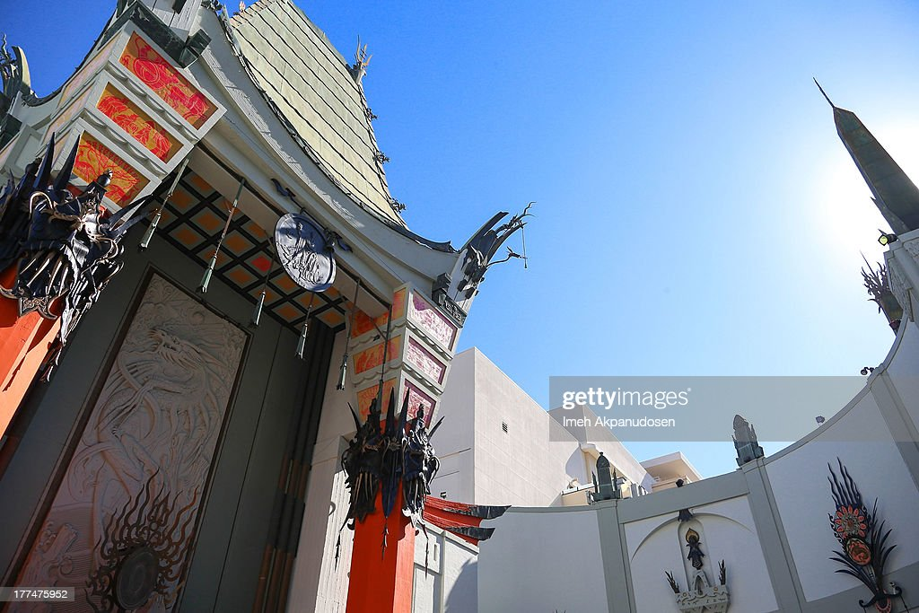 A general view of atmosphere during the raising of the world's largest IMAX screen at TCL Chinese Theatre on August 23, 2013 in Hollywood, California.