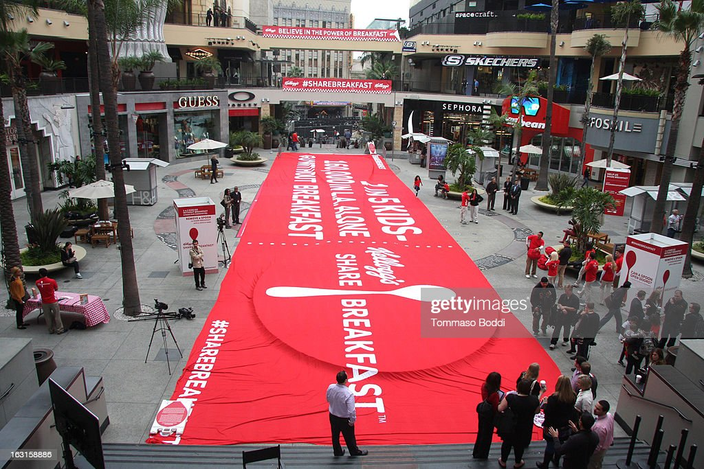 A general view of atmosphere during the unveiling of the first-ever milk mustache ad as part of the share breakfast program at Hollywood & Highland Courtyard on March 5, 2013 in Hollywood, California.