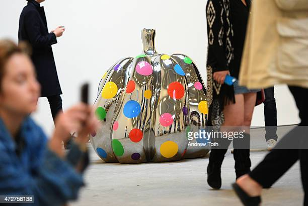A general view of atmosphere during the Yayoi Kusama Give Me Love press preview at David Zwirner Art Gallery on May 9 2015 in New York City