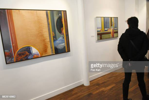A general view of atmosphere during Tribute to Leonardo Cremonini Exibition Preview at Galerie T L on November 29 2017 in Paris France