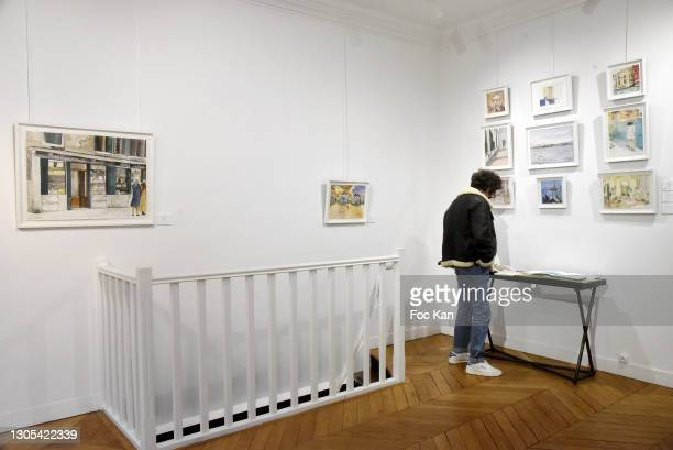 General view of atmosphere during Voyage amoureux en Italie Anna Peter-Breton Preview on Galerie Sarto on March 4, 2021 in Paris, France.