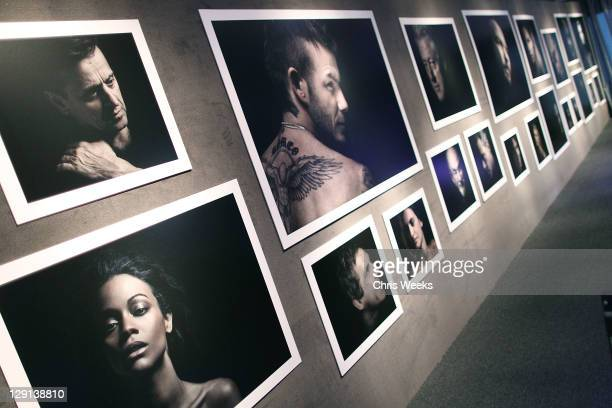 """General view of atmosphere is seen at Charlize Theron Africa Outreach Projects premiere of Randall Slavin's """"Reach: 24 Portraits"""" at Annenberg Space..."""