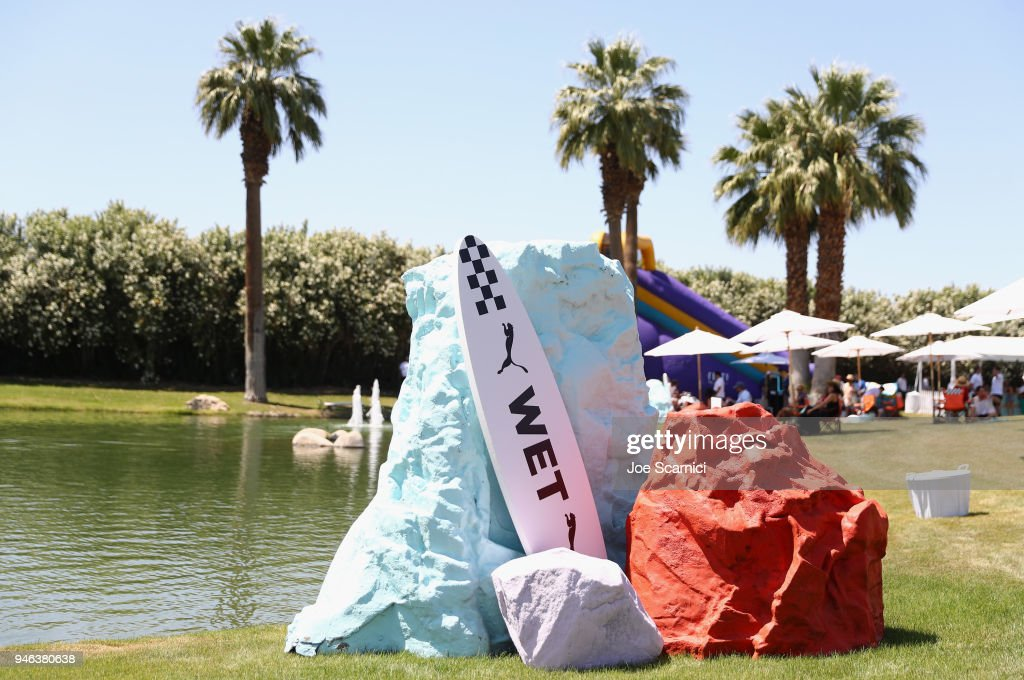 A general view of atmosphere is seen at the FentyXPUMA Drippin event launching the Summer '18 collection at Coachella on April 14, 2018 in Thermal, California.