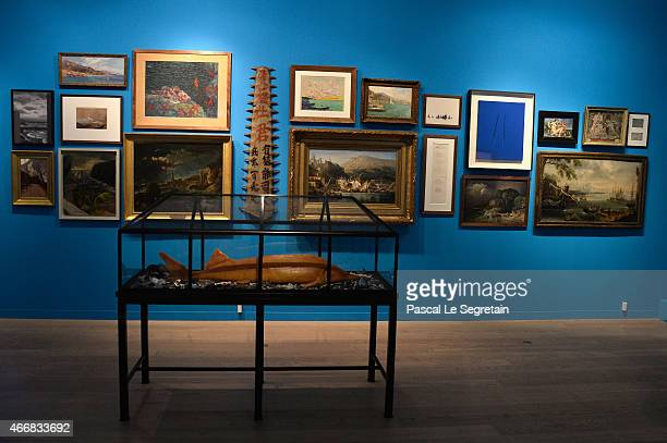 A general view of atmosphere is seen during an art exhibition at Villa Sauber on March 19 2015 in Monaco Monaco