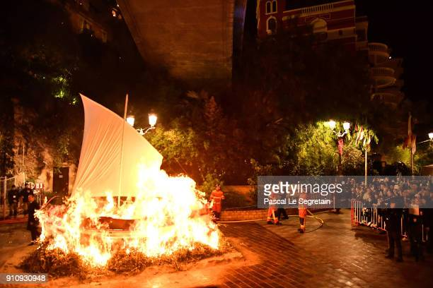 General view of atmosphere is seen during the ceremony of the SaintDevote on January 26 2018 in Monaco Monaco