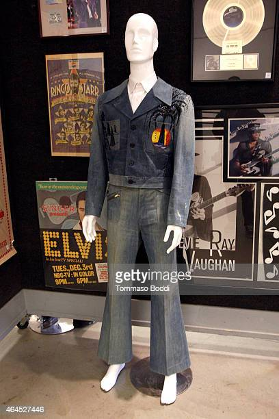 A general view of atmosphere of a Liberace denim jacket and pants during the Lauren Bacall Collection And Entertainment Memorabilia At Bonhams at...