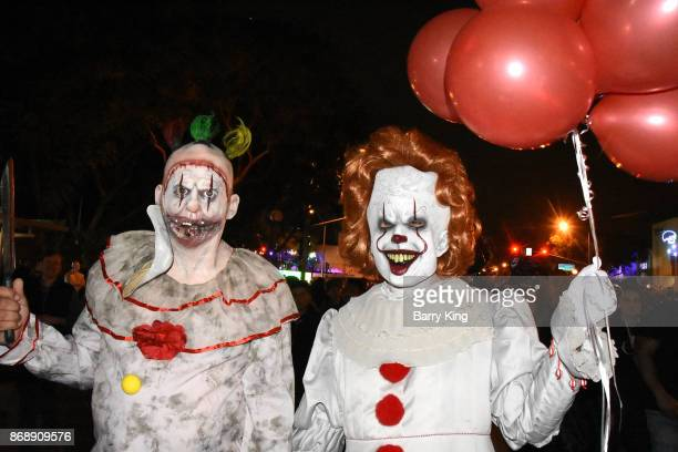 A general view of atmosphere of American Horror Story Freakshow Twisty Clown and It Clown Pennywise at West Hollywood Halloween Carnaval on October...