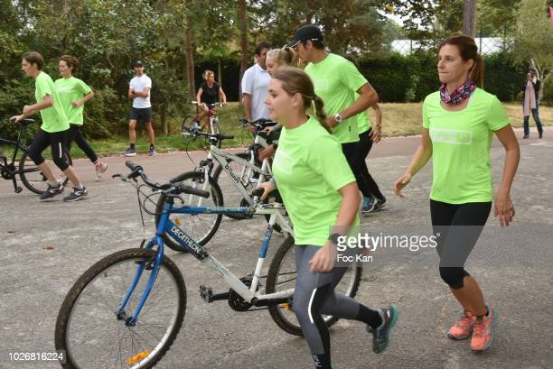 A general view of atmosphere of competitors of Triathlon des Roses Association Against Cancer competitors during the Triathlon des Roses Press...