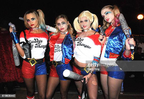 A general view of atmosphere of Margot Robbie's character Harley Quinn from 'Suicide Squads' at the 2016 West Hollywood Halloween Carnaval on October...