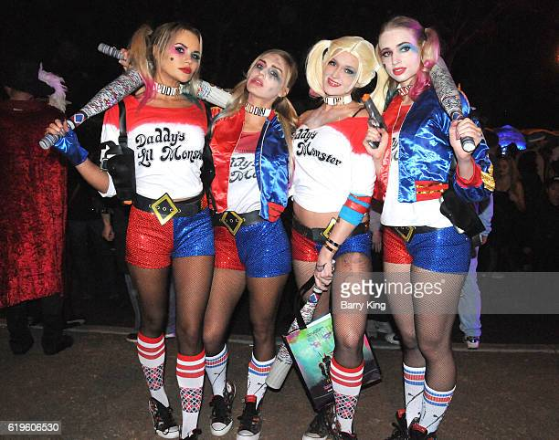 A general view of atmosphere of Margot Robbie's character Harley Quinn in Suicide Squad at the 2016 West Hollywood Halloween Carnaval on October 31...