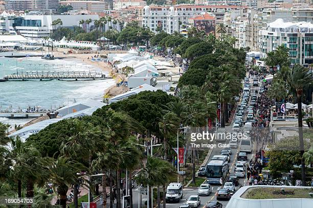 A general view of atmosphere of the Croisette during The 66th Annual Cannes Film Festival on May 19 2013 in Cannes France