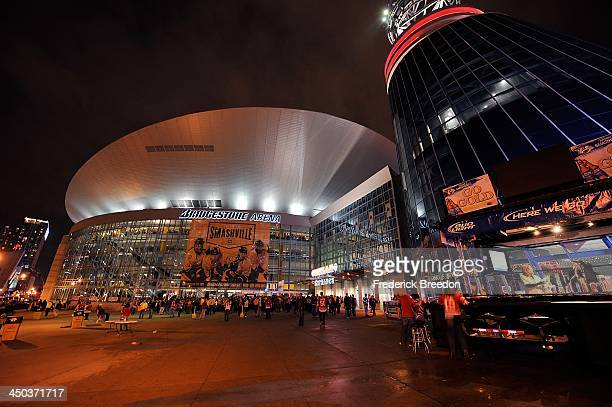 A general view of atmosphere of the exterior of the Bridgestone Arena during a game between the Nashville Predators and the Chicago Blackhawks on...