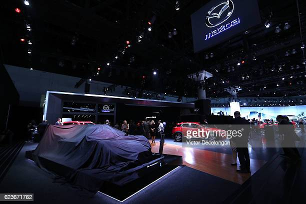 A general view of atmosphere of the Mazda showroom floor is seen at the LA Auto Show on November 16 2016 in Los Angeles California