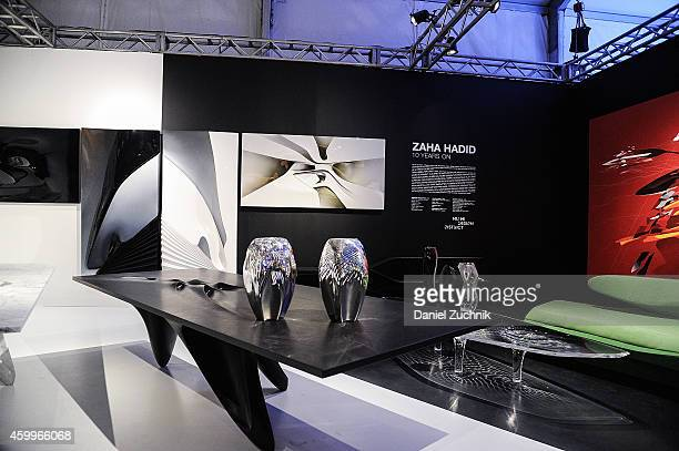 A general view of atmosphere of the Zaha Hadid exhibit at Design Miami Vernissage on December 4 2014 in Miami Beach Florida