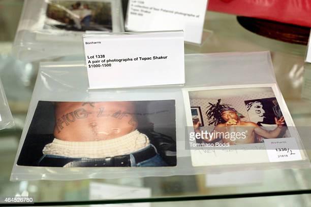 General view of atmosphere of Tupac Shakur photograps during the Lauren Bacall Collection And Entertainment Memorabilia At Bonhams at Bonhams on...