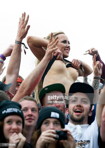A general view of atmosphere on Day 3 of The Download Festival at Donnington Park on June 16 2013 in Donnington England