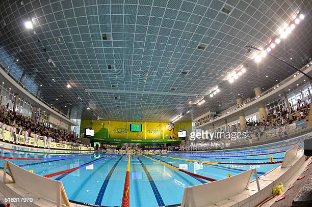 A general view of atmosphere on day three of the French National Swimming Championships on March 31 2016 in Montpellier France