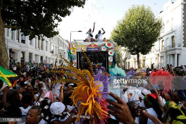 General view of atmosphere on the Red Bull Music x Mangrove truck at Notting Hill Carnival 2019 on August 26, 2019 in London, England.