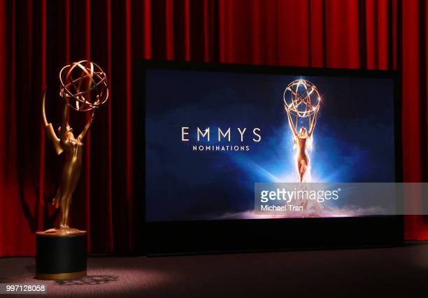 A general view of atmosphere onstage during the 70th Emmy Awards nominations announcement held at Saban Media Center on July 12 2018 in North...