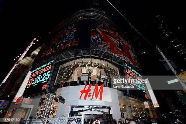 A general view of atmosphere outside as HM and Lady Gaga open an epic HM store in Times Square on November 13 2013 in New York City