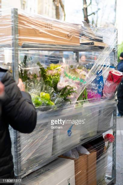 A general view of atmosphere outside Meghan Duchess of Sussex baby shower at The Mark Hotel in the Upper East Side on February 19 2019 in New York...