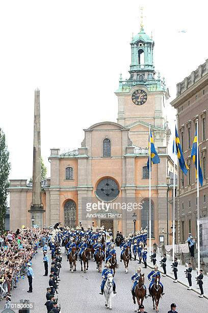 A general view of atmosphere outside the wedding of Princess Madeleine of Sweden and Christopher O'Neill hosted by King Carl Gustaf XIV and Queen...