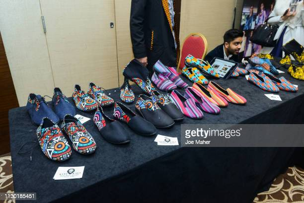 A general view of atmosphere shoe detail at the House of iKons show during London Fashion Week February 2019 at the Millennium Gloucester London...