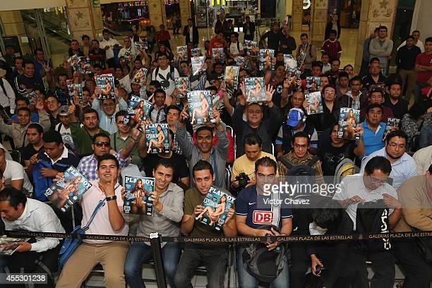 General view of atmosphere while Esperanza Gómez signs copies of Playboy Mexico magazine september 2014 cover model at Galerias Plaza de las...