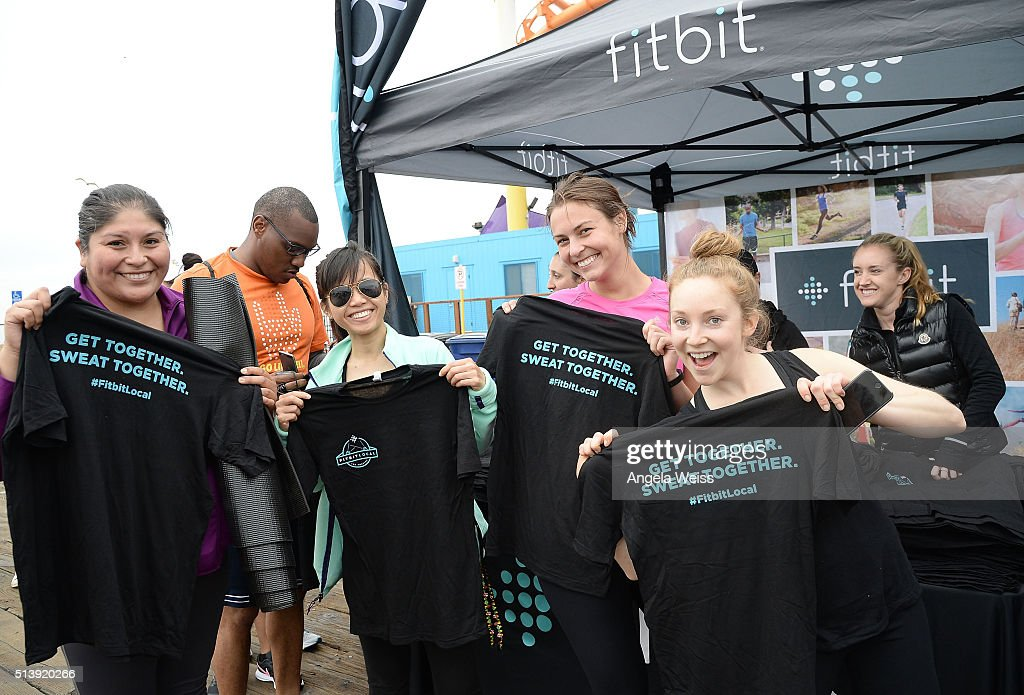 A general view of atmosphere while Fitbit Local Los Angeles launches with a free event on the Santa Monica Pier. Fitbit Local Ambassadors Elise Joan & Todd McCullough lead participants in a bootcamp and yoga workout at Santa Monica Pier on March 5, 2016 in Santa Monica, California.