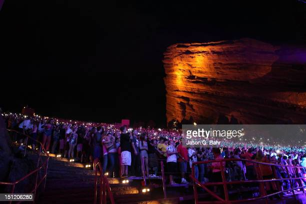 A general view of atmosphere while Mac Miller performs at Red Rocks Amphitheatre on September 1 2012 in Morrison Colorado