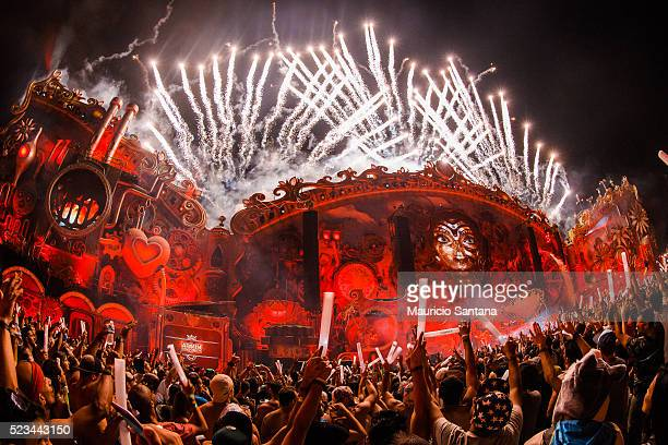 A general view of atmosphere with fireworks during the second day of the Tomorrowland music festival at Parque Maeda Itu on April 22 2016 in Sao...