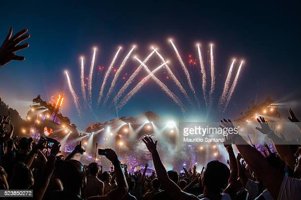 A general view of atmosphere with fireworks during the third day of the Tomorrowland music festival at Parque Maeda Itu on April 23 2016 in Sao Paulo...