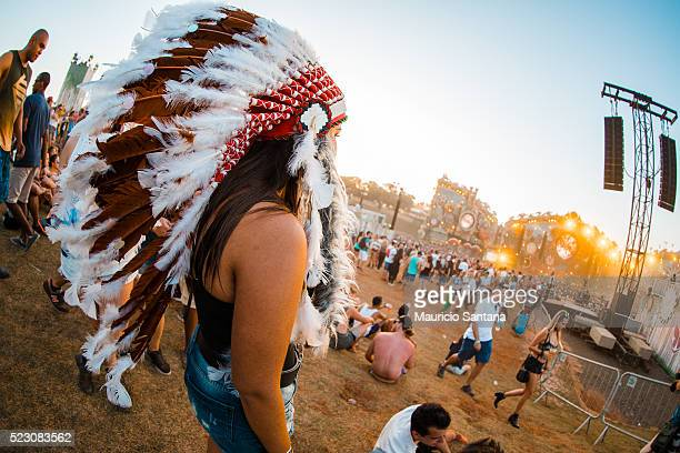 A general view of atmosphere with Indian headdress during the first day of the Tomorrowland music festival at Parque Maeda Itu on April 21 2016 in...
