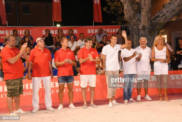 A general view of atmosphere with petanque players and winners Gilbert Fasola president of La Boule Tropezienne Senequier President Thierry...
