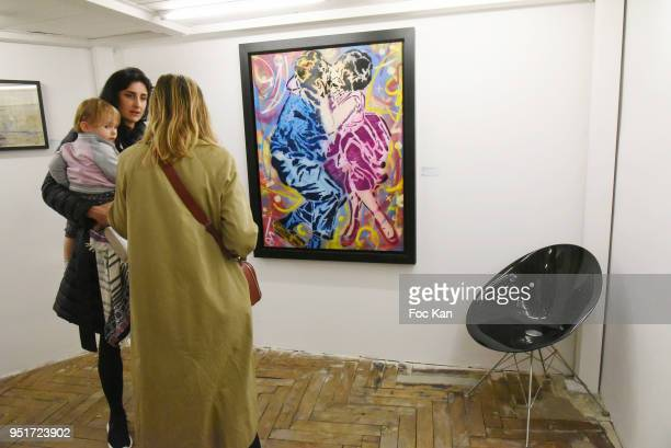 A general view of atmosphere with the work of Epsylon Point during Mai 68 Collective Painting Exhibition at Brugier Rigail Galerie on April 26 2018...
