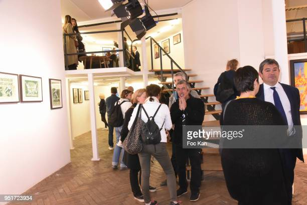 A general view of atmosphere with the work of Epsylon Point Guy Denning and Jerome Mesnager during Mai 68 Collective Painting Exhibition at Brugier...