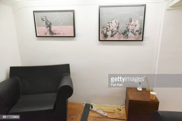 A general view of atmosphere with the work of Guy Denning during Mai 68 Painting Exhibition at Brugier Rigail Galerie on April 26 2018 in Paris France