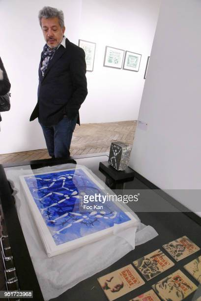 A general view of atmosphere with the work of Jerome Mesnager during Mai 68 Painting Exhibition at Brugier Rigail Galerie on April 26 2018 in Paris...
