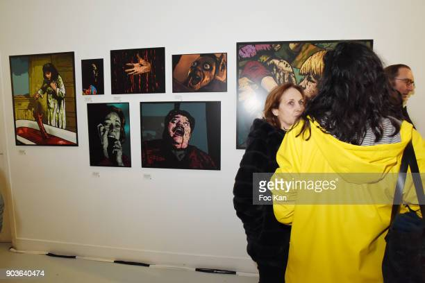 A general view of atmosphere with the work of painter Pierre La Police during the 'A Mon Seul Desir 20 Ans de Mauvais Genres chez Agnes B' Exhibition...
