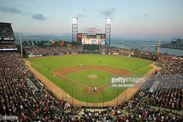 General view of AT&T Park taken during the game between the Washington Nationals and the San Francisco Giants on August 7,2007 in San Francisco,...