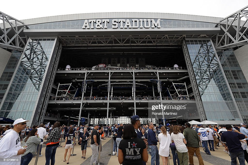 A general view of AT&T Stadium before a game between the Cincinnati Bengals and the Dallas Cowboys on October 9, 2016 in Arlington, Texas.