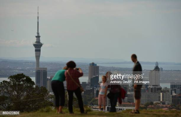 General view of Auckland showing the Sky Tower New Zealand's tallest building seen from Mount Eden