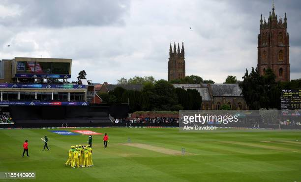 General view of Australia celebrating the wicket of Babar Azam of Pakistan during the Group Stage match of the ICC Cricket World Cup 2019 between...